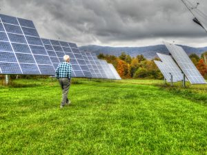 Old Man Solar Panels Field
