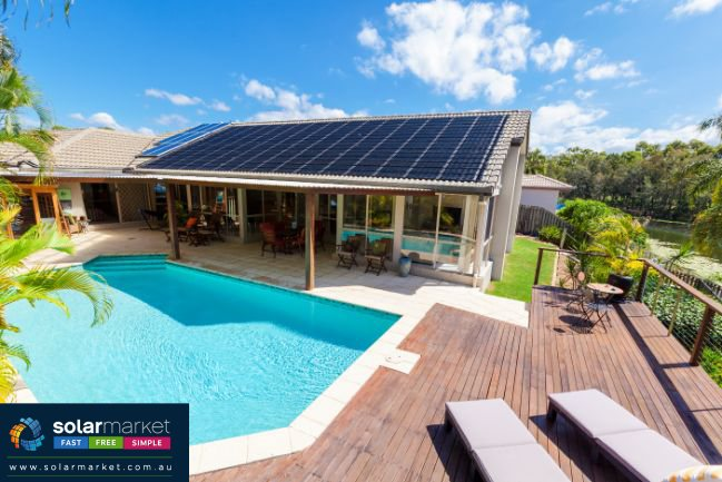 solar house with swimming pool
