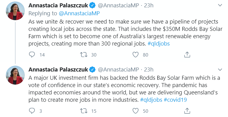 queensland's premier announcing the investor news on twitter